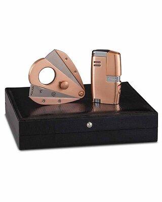 Cigar Cutter Gift Set (XiKAR 2016H-RG Rose Gold Vitara Cigar Lighter Xi3 Cutter Gift Set)
