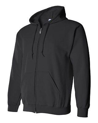 Gildan BLACK Zip Hoodie Heavy Blend Full Zip Hooded Sweatshirt Jumper Size S-5XL Blend Full Zip Hoodie