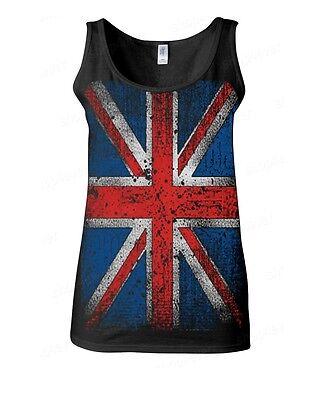 Union Jack Vintage Women's Tank Top Distressed UK Flag England Great Britain Tee Union Jack Vintage