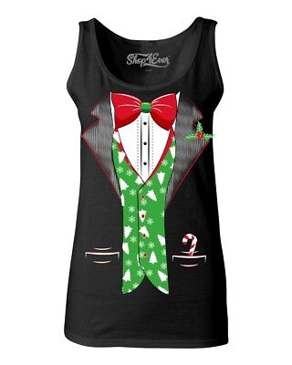 Tuxedo Ugly Christmas Costume Women's Tank Top Xmas Tree Vest Holiday - Tuxedo Costume For Women