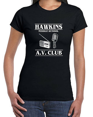 538 Hawkins Middle School AV Club womens T-shirt stranger tv show things costume - Super Costume Center