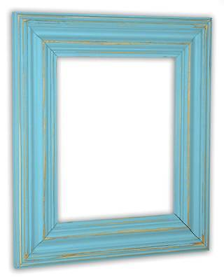 - Wide Distressed Aqua Picture Frame - Solid Wood
