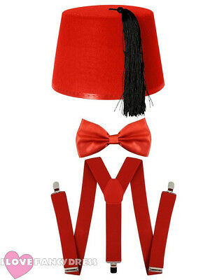 RED FEZ HAT BOW TIE AND BRACES TIME TRAVELLER FANCY DRESS COSTUME TV CHARACTER  (Time Traveller Kostüm)