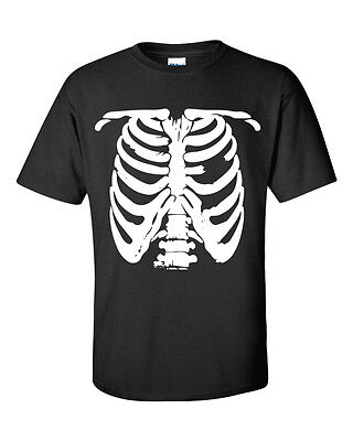 SKELETON BODY HALLOWEEN COSTUME RIB CAGE FUNNY TRICK OR TREAT Men's T shirt 478](Skeleton T Shirt Costume)
