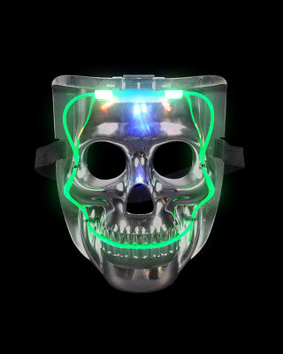 Silver Light Up LED Smiling Skeleton Skull Mask Halloween Costume - Led Light Up Costumes