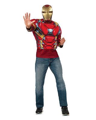 Captain America Bürgerkrieg Iron Man Muskel T-Shirt Erwachsene Kostüm Brandneu - ()