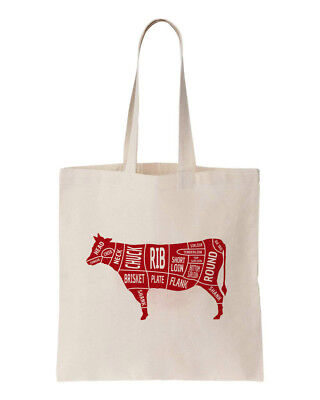 BUTCHERS BEEF CUTS 100% ECO COTTON  REUSABLE TOTE CANVAS SHOPPING BAG 150GSM (Beef 5 Ounce Bag)