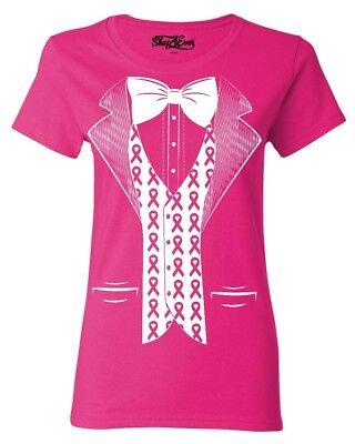 Pink Ribbon Tuxedo Costume Women's T-Shirt Breast Cancer Awareness Shirts - Women Tuxedo Costume