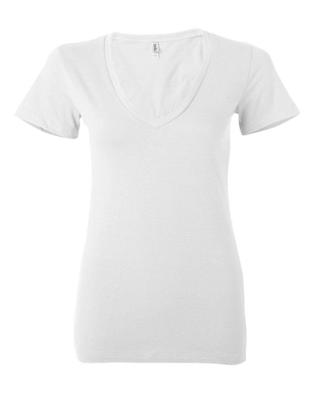 a6773a26640 Details about Bella + Canvas Ladies Junior Fit Jersey Deep V-Neck T-Shirt.  6035