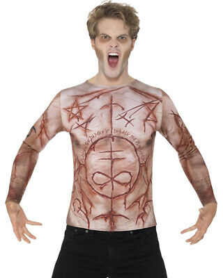 Men's Halloween Scary Mutilated Satanic Devil Skin T-Shirt Costume - Devil Costumes For Men