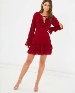Chancery Harper Flounce Mini Dress in Wine Size 10 West End Brisbane South West Preview