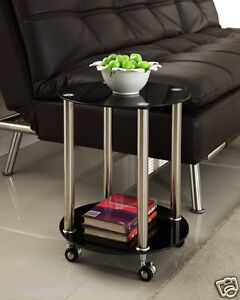 Black Glass 2 Tier Side Coffee End Table with Wheels Chrome Finish Stylish New