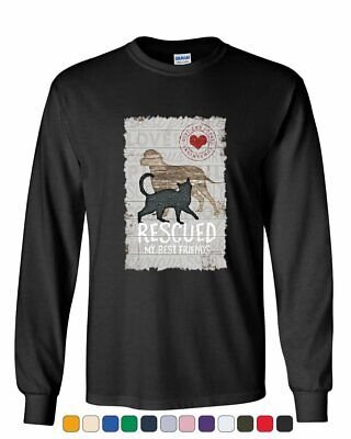 Rescued My Best Friend Long Sleeve T-Shirt Cat Dog Lovers Adopt a Pet