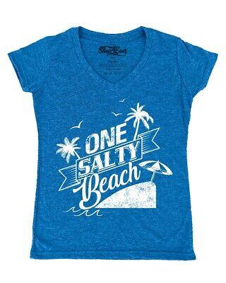 One Salty Beach Women's V-Neck T-shirt Funny Novelty Lake Beach Please Vacay Tee - Beach Novelties
