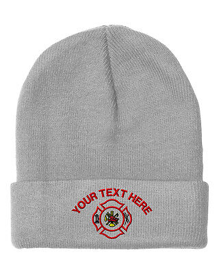 Your Text Here Custom Firefighter Logo Embroidered Beanie Skully Hat Cap