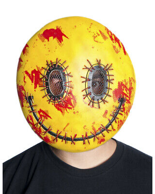 Adults Bloody Stitched Happy Emoji Vacuform Face Strap Mask Costume Accessory - Scary Happy Halloween Font