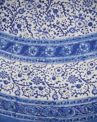 "Rajasthan Block Print Round Cotton Tablecloth 72"" Blue"