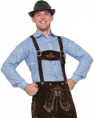 Mens Oktoberfest Costumes (Adult's Mens German Apline Oktoberfest Lederhosen Blue Shirt)