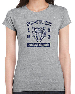 540 Hawkins Middle School womens T-shirt funny tv show things costume 80s retro - Super Costume Center