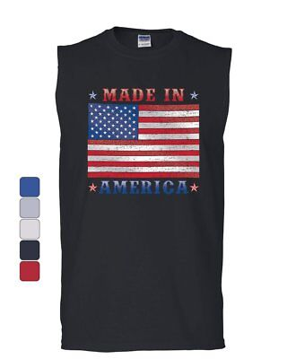 Made in America Muscle Shirt 4th of July Stars and Stripes Patriot Sleeveless - America Muscle