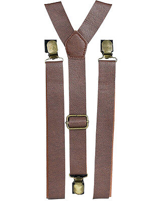 New Mens Womens Brown Faux Leather Steampunk Costume Suspenders