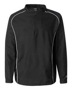 Rawlings Mens S-5XL Long Sleeve 1/4 Zip Baseball Pullover Wind Shirt Jacket Top