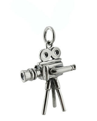 Movie Camera Charm - 925 Sterling Silver Old Fashion Film Television Reel NEW