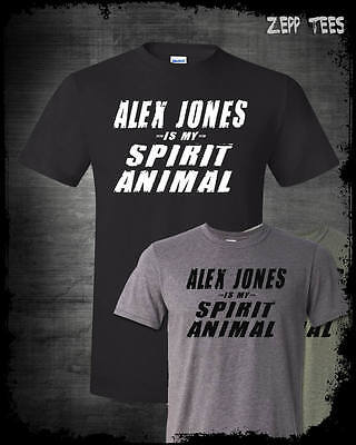 Alex Jones Spirit Animal T Shirt Infowars Funny Conspiracy Theory Patriotic Guy