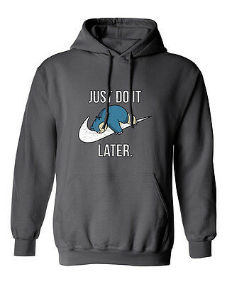 """Snorlax """"Just Do It Later"""" Pokemon Mens & Youth Hooded Sweatshirt"""