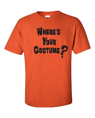 Funny Black Halloween Costumes (WHERE IS YOUR COSTUME Halloween FUNNY Trick or Treat BLACK PRINT Men's Tee)