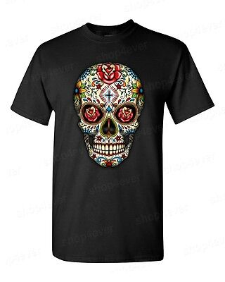Sugar Skull Red Roses T-Shirt Day of the Dead Dia De Los Muertos Halloween Tees