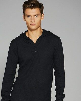 Hooded Long Sleeve Henley (Canvas Mens S M L XL 2XL Long Sleeve THERMAL HOODED HENLEY JUMPER T-Shirt HOODIE)