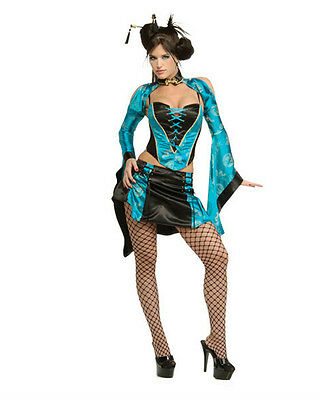 Sexy Women's Black Blue Naughty Chinese Geisha Girl Adult Costume Size XS 2-6 - Chinese Geisha Costume