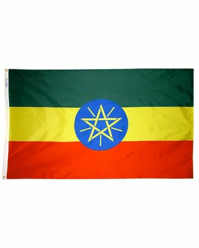 Ethiopia Flag የኢትዮጵያ ሰንደቅ ዓላማ, 3 x 5 ft, green, yellow and red,  BRAND NEW !