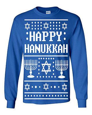 528 Happy Hanukkah Ugly Christmas Sweater Long Sleeve Shirt jewish holiday funny