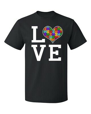 Autism Awareness Love Heart Jigsaw Puzzle (Colored) Men's T-shirt