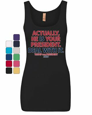 top deal (He Is Your President Deal With It Women's Tank Top Donald Trump 2020 MAGA)