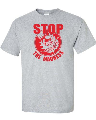 STOP THE MADNESS Heroin Drug Overdose OD Syringe Mens Tee Shirt 1156