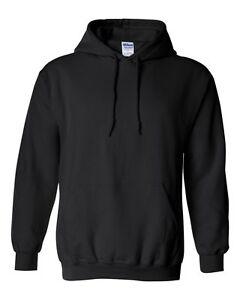 10 Gildan BLACK Adult Hooded Sweatshirts Bulk Lot Wholesale Hoodie S-XL