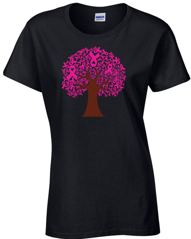 Tree of Pink Ribbons Women Breast Cancer Awareness Angel Ladies Tee Shirt 24