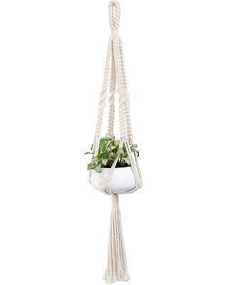 Mkono Mini Macrame Plant Hanger Hanging Planter Basket (with Ceramic Pot)19 Inch
