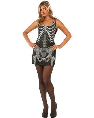 Women's Day Of The Dead Skeleton X-Ray Tank Dress Costume - X-ray Skeleton Costume