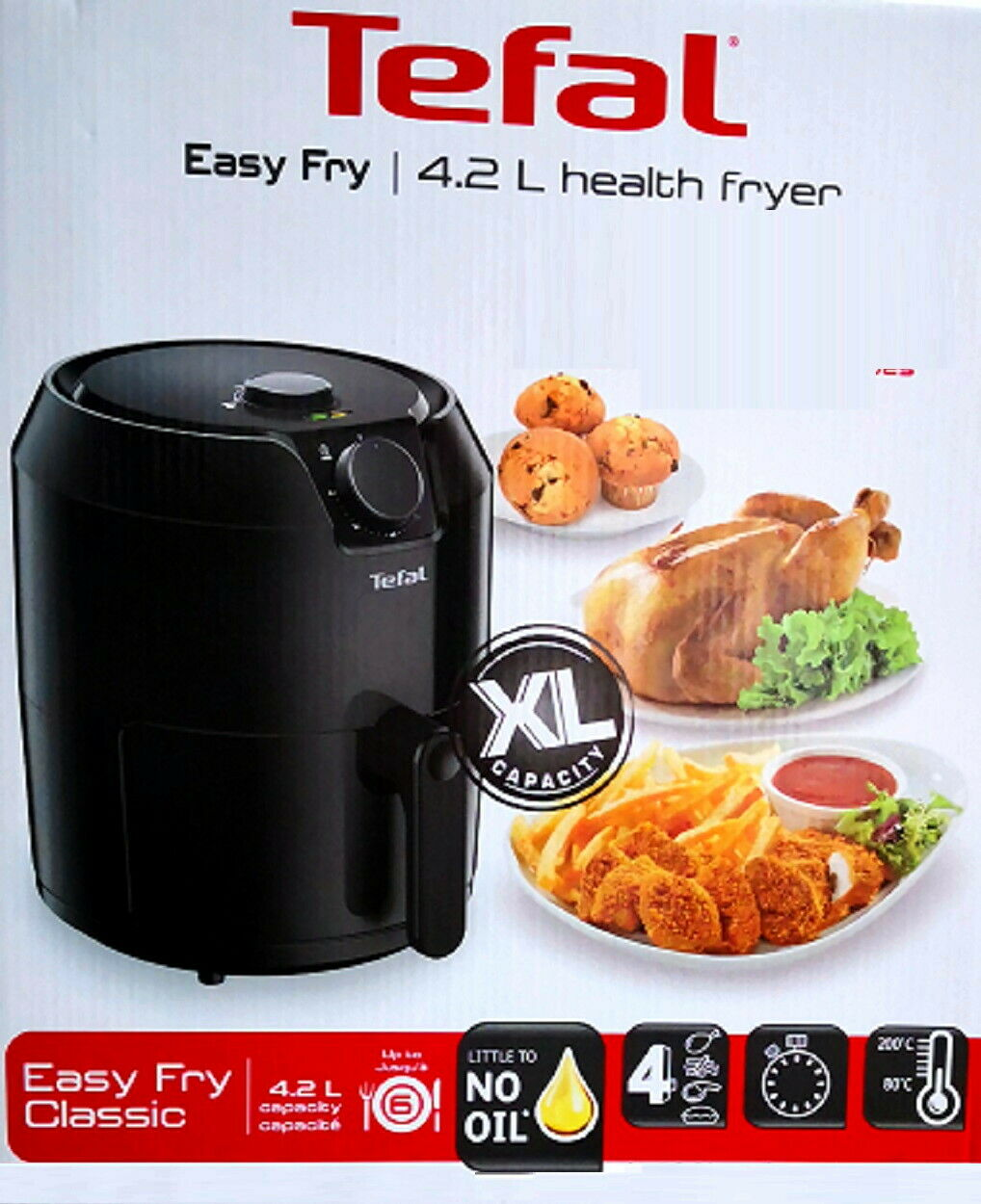 Tefal EasyFry Classic EY2018 Heißluftfriteuse Friteuse XL 4,2L 1,2kg 1400W Timer