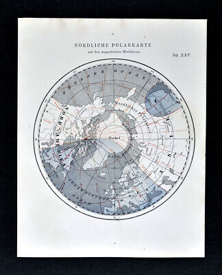 1872 Muller Astronomy Map North Pole with Magnetic Meridians Arctic Ocean World