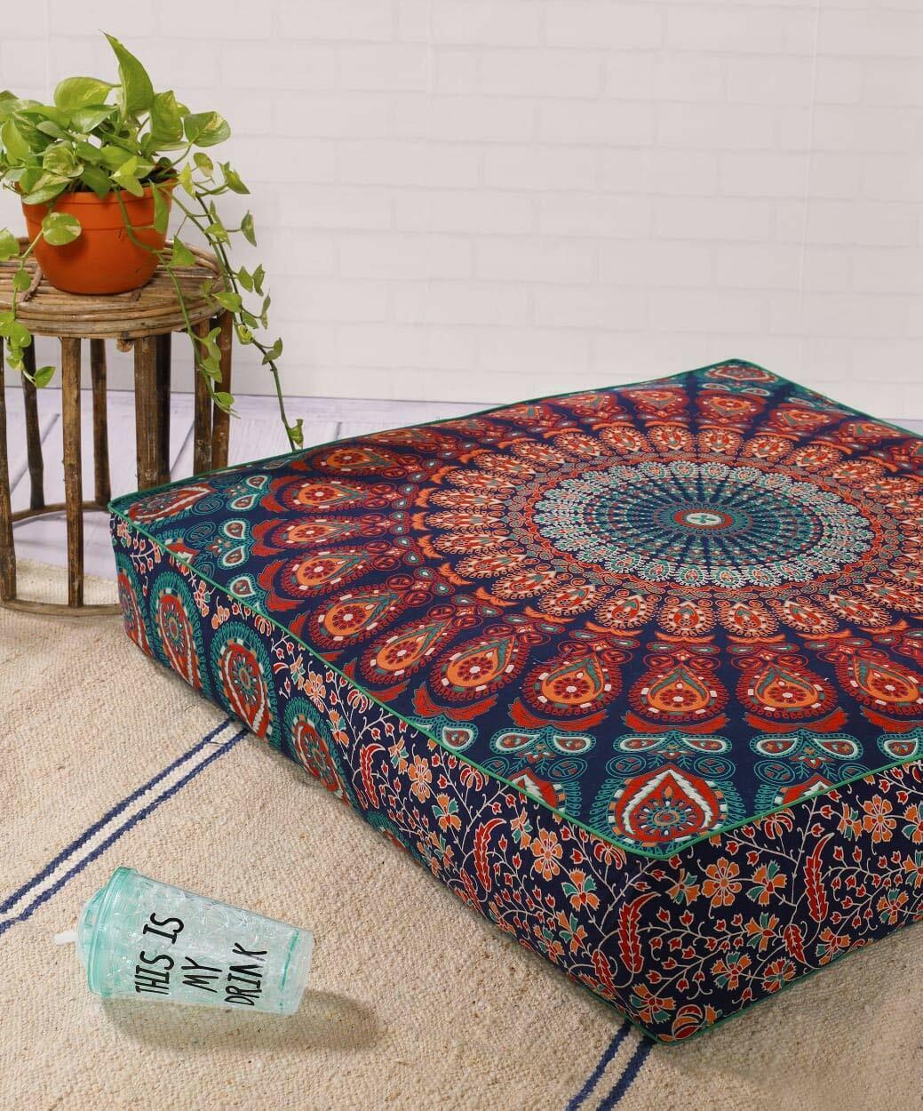 "Mandala Floor Pillow Cover, Square, 35"" X 35"", Ottoman Pouf,"
