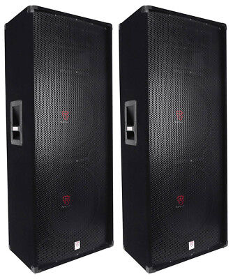 "(2) Rockville RSG15.24 Dual 15"" 3000 Watt 3-Way 4-Ohm Passive DJ / PA Speaker"