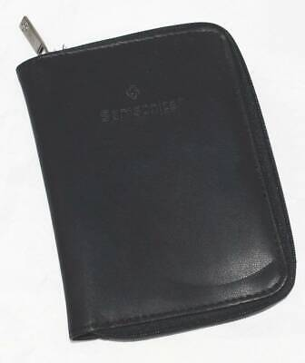 SAMSONITE LEATHER CREDIT CARD WALLET CASE BLACK ZIP CLOSE