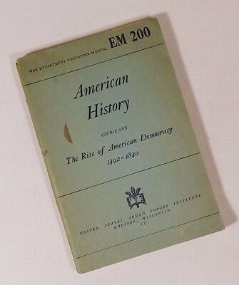 Wwii War Department Education Manual American History Em 200 1944 Good