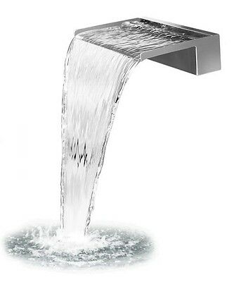 Wasserfall Edelstahl 60 cm mit LED Beleuchtung,Wasserspiel mit  2 Anschlüssen