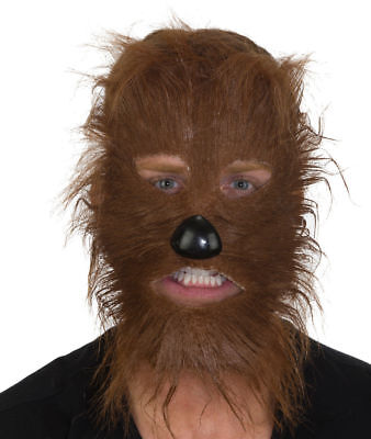 ADULT MENS BROWN WEREWOLF WOLF BEAR COSTUME FURRY FACE MASK WITH NOSE - Brown Wolf Mask
